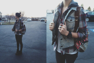 shirt flannel shirt jacket flannel pleid shirt casual fall outfits denim vest skater girl