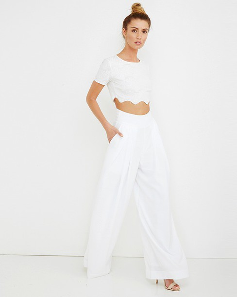 Pants: white, white pants, wide-leg pants, high waist pants ...