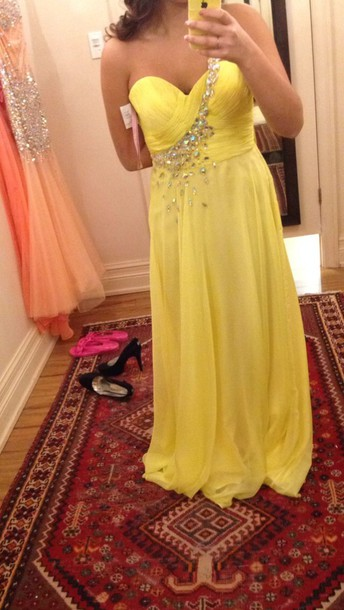 dress yellow dress prom dress blush dress blush prom dress beaded dress bright one shoulder prom dress one shoulder dress