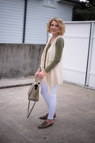 something delightful blogger sweater jacket t-shirt top bag jewels loafers handbag white pants fall outfits