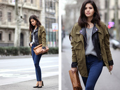 fake leather,blogger,jeans,brown leather bag,army green jacket,grey sweater,spring jacket