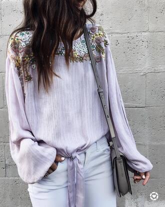 top tumblr lilac long sleeves bag shoulder bag grey bag denim jeans white jeans embroidered