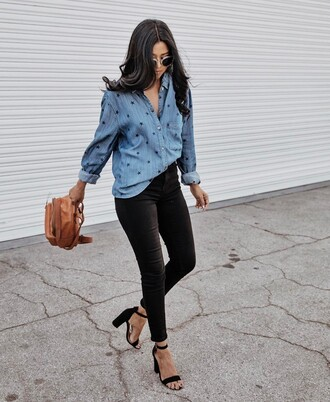 shirt tumblr blue shirt denim shirt denim jeans black jeans skinny jeans black skinny jeans sandals sandal heels high heel sandals black sandals leather backpack backpack brown backpack sunglasses walk in wonderland work outfits office outfits instagram blogger