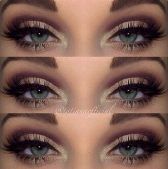 make-up pretty eyes eye makeup eyeliner eye shadow eyelashes cute purple green glitter sparkle eyebrows