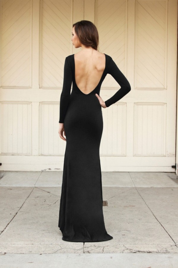 Sexy Black Minimalist Backless Open Cutout Back Slip Jersey Long ...