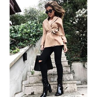 coat tumblr beige coat jeans black jeans ripped jeans black ripped jeans bag boots black boots high heels boots patent shoes thick heel block heels fall outfits