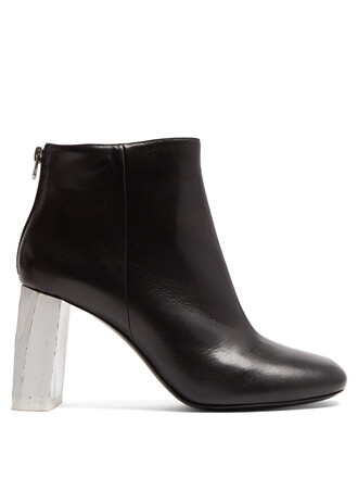 heel leather ankle boots ankle boots leather white black shoes