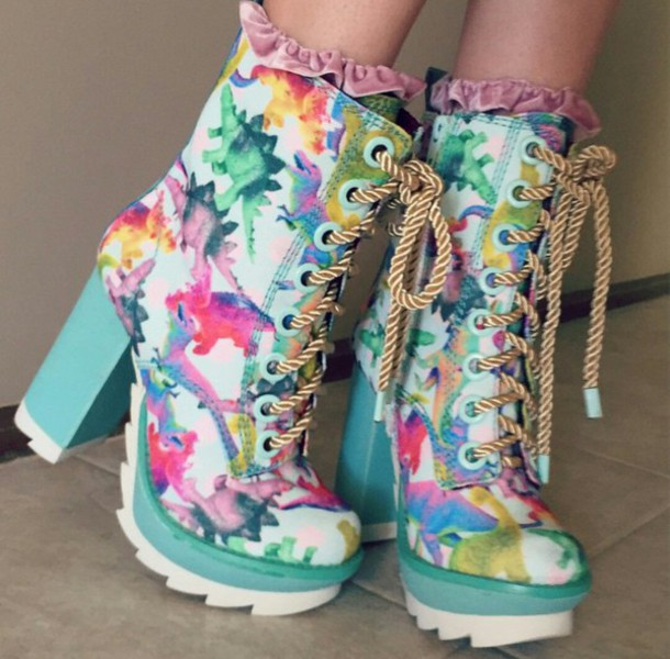 shoes shoes ancle boots chunky heels multicolor cute shoes pastel shoes lace up lace up heels