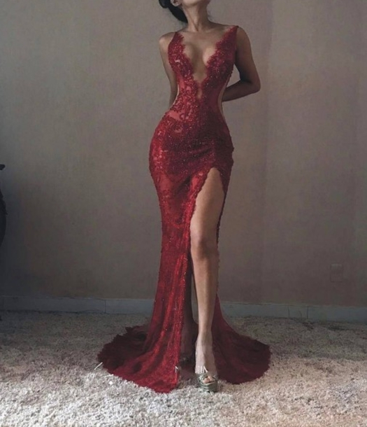 Dress Red Lace Mermaid Dresses Slit Dress Mermaid Prom Dress