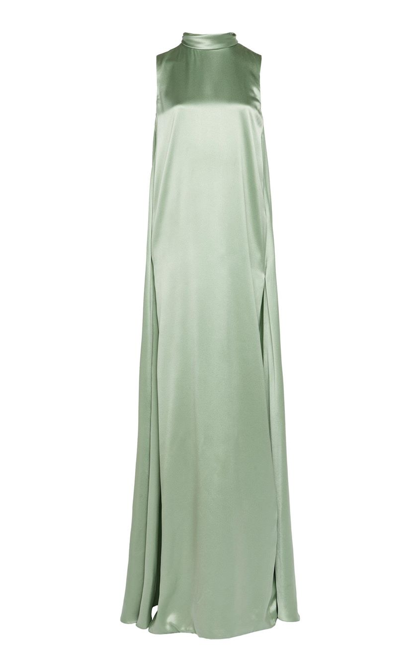 Brandon Maxwell Tie-Detailed Silk-Satin Gown Size: 2