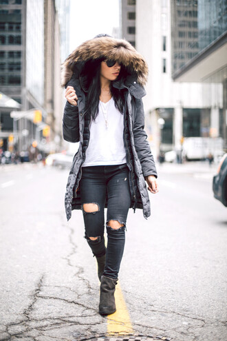 myfashavenue blogger coat shoes jeans hat fall outfits ankle boots black ripped jeans hooded winter coat black coat white top ripped jeans black jeans skinny jeans