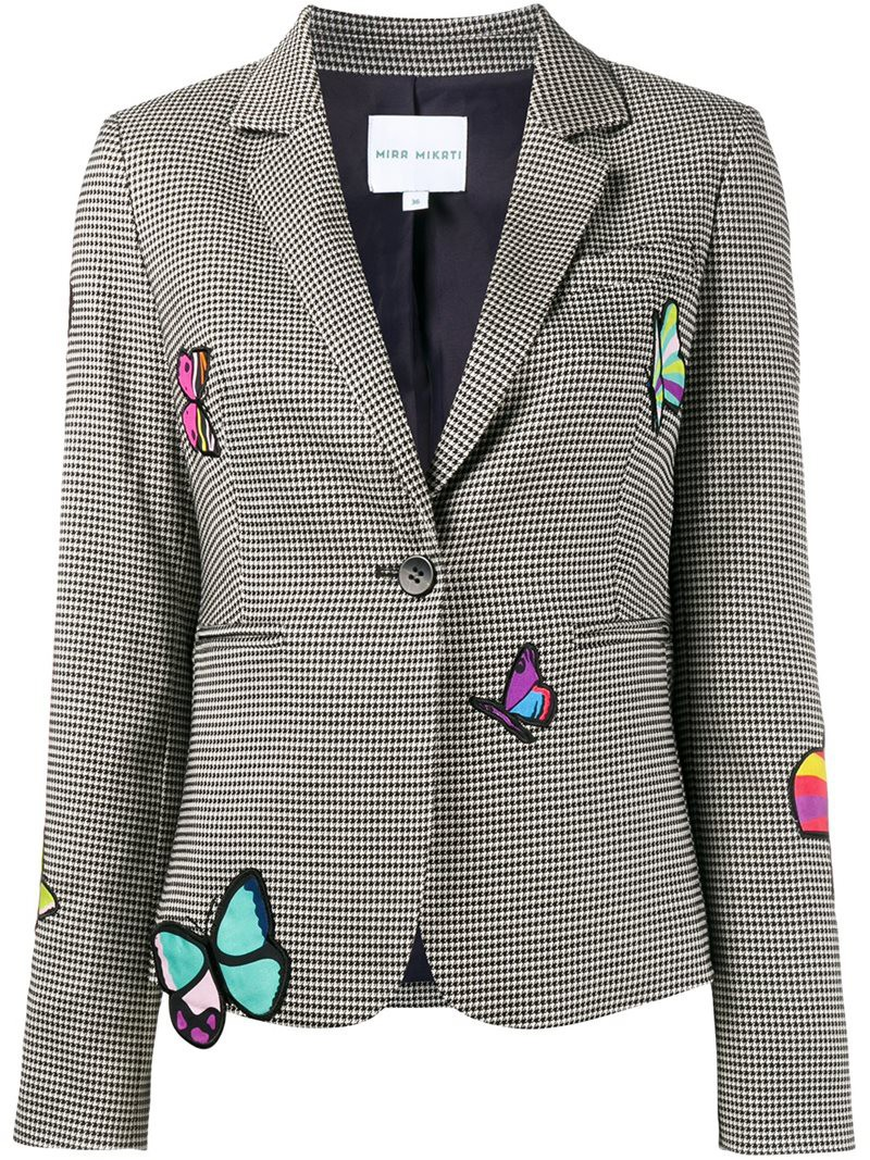 Mira Mikati butterfly patch houndstooth blazer, Women's, Size: 42 ...