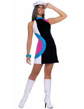 dress bold mod black white pink blue mini dress