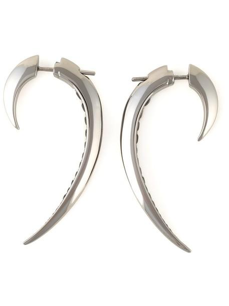 women earrings silver black grey metallic jewels