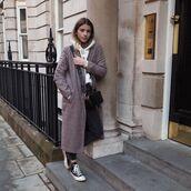 coat,checked coat,long coat,fleece hoodie,white hoodie,small black bag,high top converse