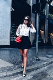 viva luxury,blogger,lace top,button up,red bag,chanel bag,chanel,black skirt,mini skirt,flats,black flats,date outfit,loafers