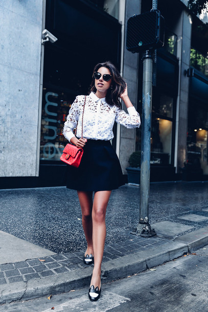 viva luxury blogger lace top button up red bag chanel bag chanel black skirt mini skirt flats black flats date outfit loafers