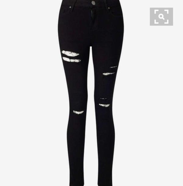 pants black ripped jeans skinny jeans black jeans