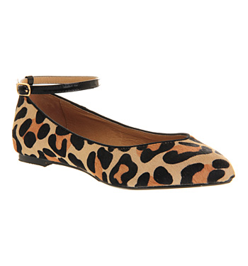 Office Kitten Point Ankle Strap Leopard Pony Effect - Flats