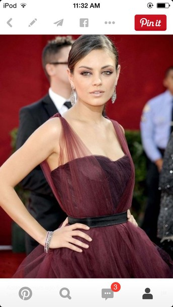 tulle dress mila kunis burgundy