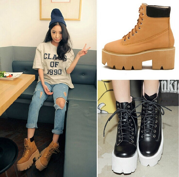 New fashion shoes women boots 2014 arrival vogue women motorcycle boots platform heel women shoes leather ankle boots for women