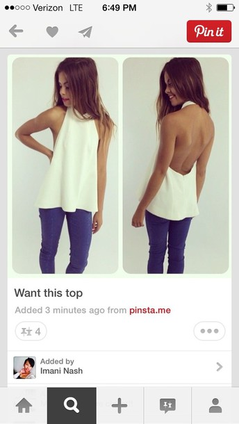 shirt white shirt cut-out top white backless blouse white top open back halter top white t-shirt cute top backless top holtertop fashion tank top