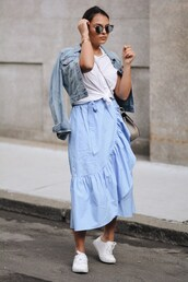 skirt,tumblr,wrap ruffle skirt,ruffle,asymmetrical skirt,asymmetrical,midi skirt,blue skirt,sneakers,white sneakers,t-shirt,white t-shirt,jacket,denim jacket,denim,top