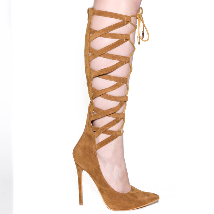 NO FEELINGS Lace Up Pumps in TAN at FLYJANE