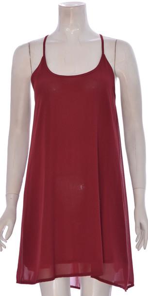 dress women chiffon swing sleeveless dress red