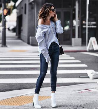 shirt tumblr blue shirt denim jeans blue jeans skinny jeans bag black bag boots white boots ankle boots shoes