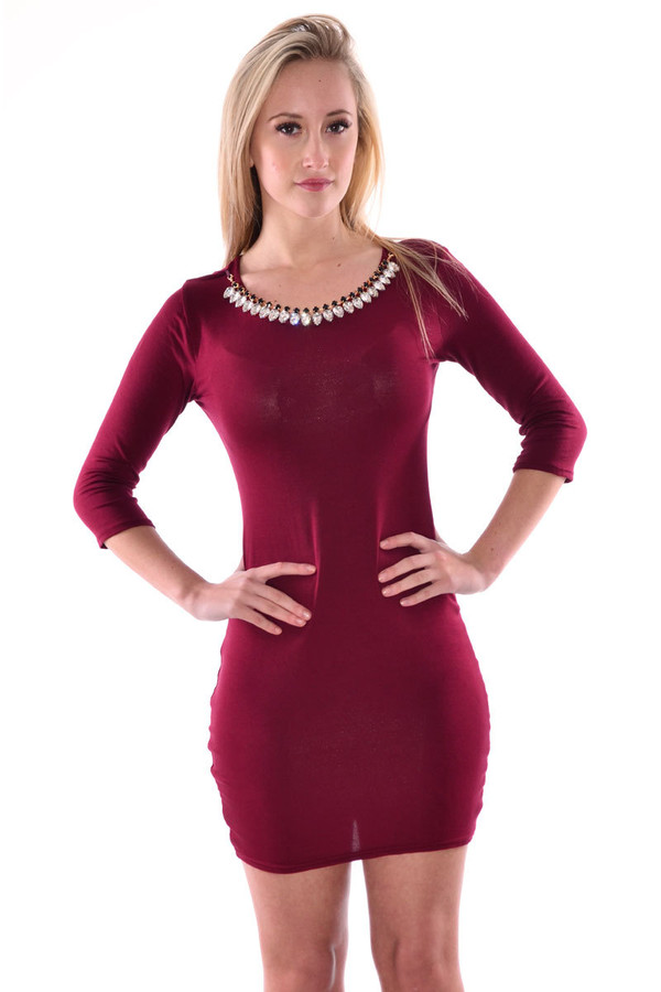 dress necklace dress wine dress necklace bodycon bodycon dress half sleeves