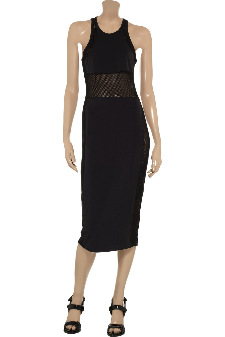 T by Alexander Wang Paneled stretch-nylon and mesh midi dress – 76% at THE OUTNET.COM