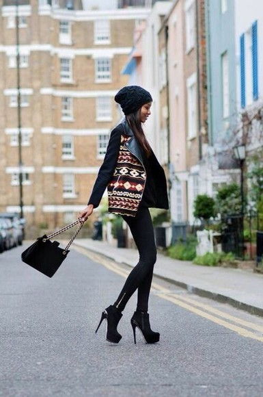 indian coat indian design hipster indie shoes black high heels booties beanie purse tribal print jacket