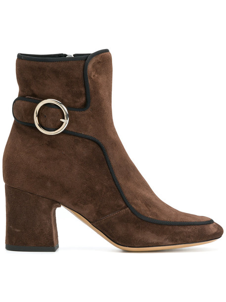 DEIMILLE women boots leather suede brown shoes