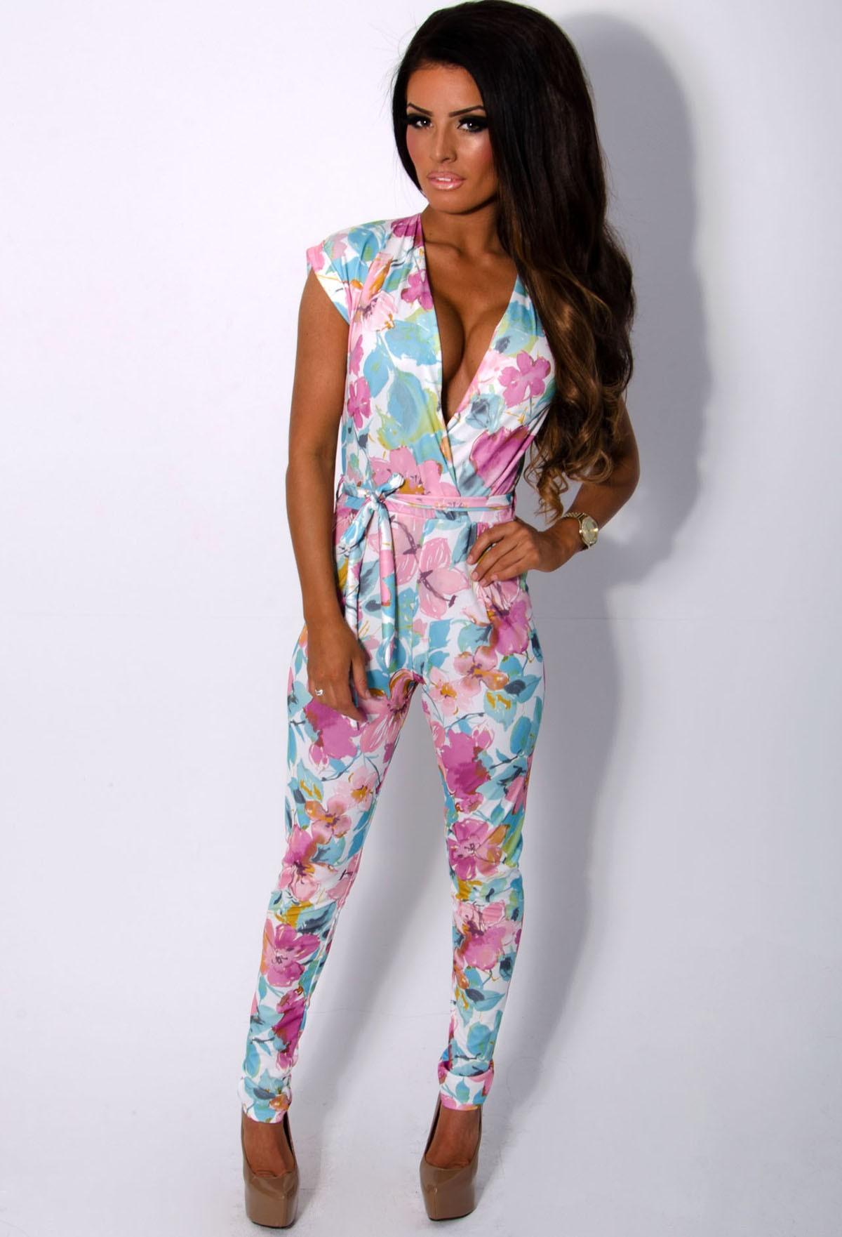 Aylin Floral Pastel Plunge Jumpsuit | Pink Boutique