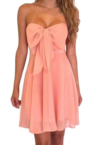 dress strapeless strapeless dress bow bow dress backless backless dress peach peach dress pink bowknot bowknot dress sexy sexy dress casual sexy dress casual dress clubwear summer summer dress chiffon dress chiffon summer outfits summer collection zaful mini dress