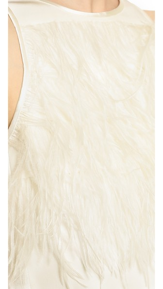 Tibi feather tuxedo crop top