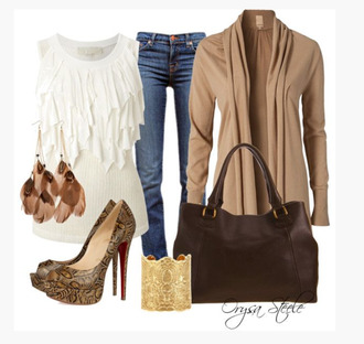 shirt top ivory ruffle no sleeves form fitting earrings feather earrings sienna heels high heels pumps paisley peep toe pumps bag purse brown clothes outfit