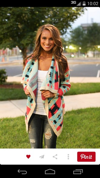 cardigan aztec colorful patterns tribal cardigan cute sweaters country style
