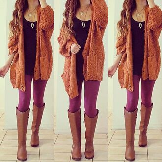 jacket cardigan brown tank top necklace black leggings boots oversized cardigan oversized shoes