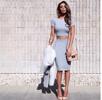 top grey skirt classy light blue cropped
