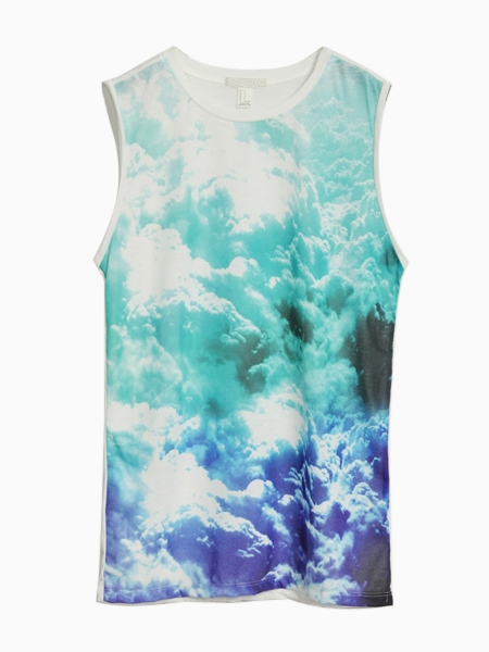 Blue Clouds Print Vest T-shirt | Choies