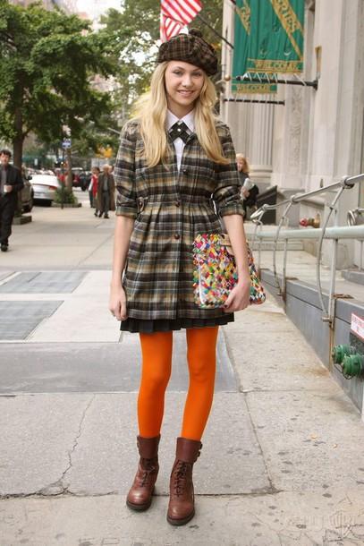 coat tartan coat tartan jenny humphrey taylor momsen fashion coat gossip girl