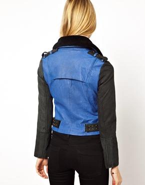 Eleven Paris | Eleven Paris Trinite Colourblocked Leather Biker Jacket with Shearling Collar at ASOS