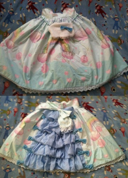 rainbow shirt rainbow skirt lolita sweet lolita blue skirt pastel blue light blue ruffles