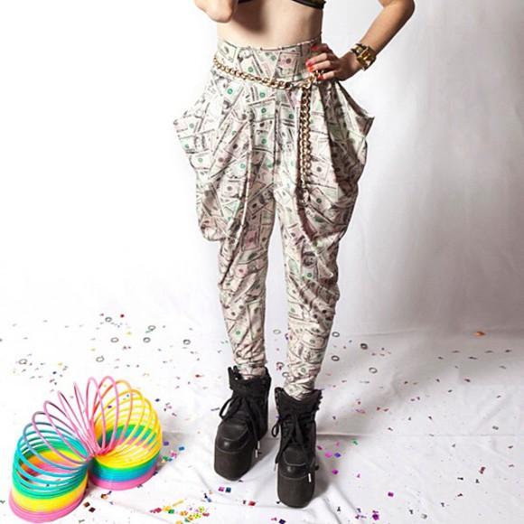 pants printed pants money cute pants cool harem pants dollar fashion fun