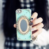 phone cover,mirror  iphone case,mint green iphone case,crystal iphone case,3d iphone case