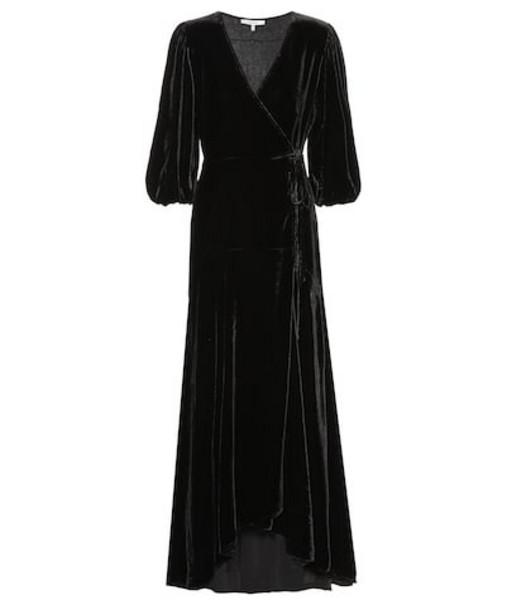 Ganni Silk-blend velvet wrap dress in black