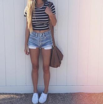 shorts denim shorts crop tops striped top cute vans black and white striped top short shorts white black and white stripes