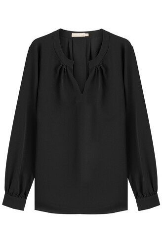 blouse open silk black top